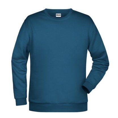 Felpa girocollo unisex stampata ricamata personalizzata alterego blu petrolio jeans