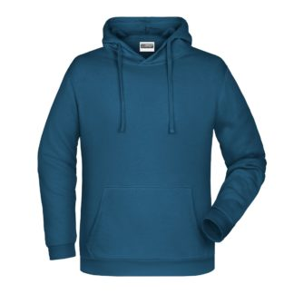 Felpa con cappuccio personalizzata stampata ricamata blu petrolio jeans
