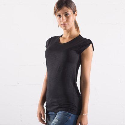 t-shirt cotone fiammato fashon personaizzata stampata alterego nera donna