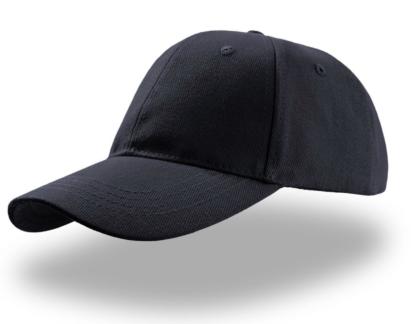 cappello blu con stampa e ricamo