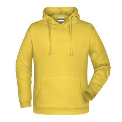 Felpa con cappuccio personalizzata stampata ricamata gialla