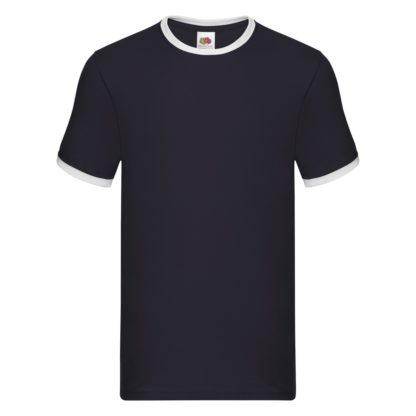 t-shirt maglietta fruit of the loom con maniche doppio colore personalizzata ricamata alterego bianca blu bianca