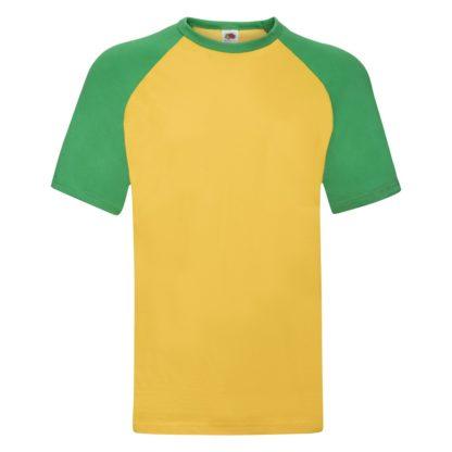 t-shirt maglietta fruit of the loom con maniche doppio colore personalizzata ricamata alterego gialla verde