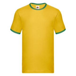 t-shirt maglietta fruit of the loom con maniche doppio colore personalizzata ricamata alterego bianca gialla verde
