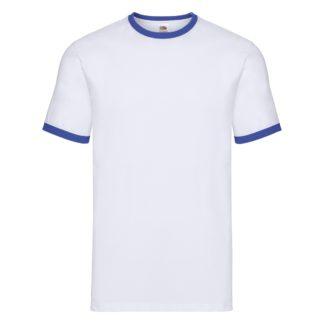 t-shirt maglietta fruit of the loom con maniche doppio colore personalizzata ricamata alterego bianca blu royal
