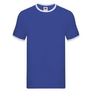 t-shirt maglietta fruit of the loom con maniche doppio colore personalizzata ricamata alterego blu royal bianco