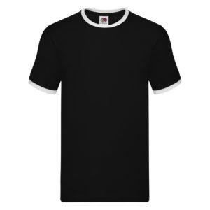 t-shirt maglietta fruit of the loom con maniche doppio colore personalizzata ricamata alterego nero bianco