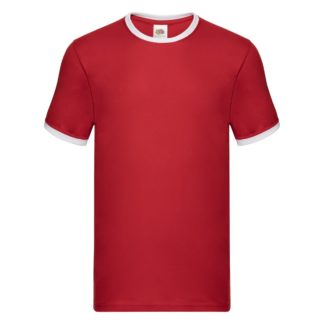 t-shirt maglietta fruit of the loom con maniche doppio colore personalizzata ricamata alterego rossa bianco