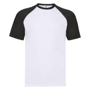 t-shirt maglietta fruit of the loom con maniche doppio colore personalizzata ricamata alterego bianca nera