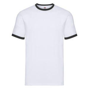 t-shirt maglietta fruit of the loom con maniche doppio colore personalizzata ricamata alterego bianca bianca nera
