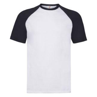 t-shirt maglietta fruit of the loom con maniche doppio colore personalizzata ricamata alterego bianca blu