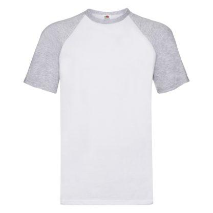 t-shirt maglietta fruit of the loom con maniche doppio colore personalizzata ricamata alterego bianca grigia