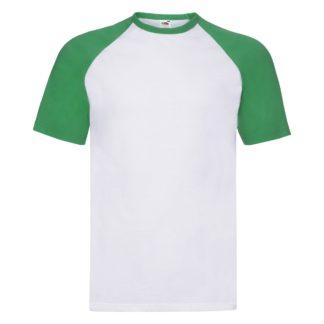 t-shirt maglietta fruit of the loom con maniche doppio colore personalizzata ricamata alterego bianca verde