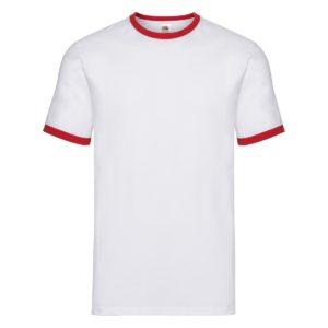 t-shirt maglietta fruit of the loom con maniche doppio colore personalizzata ricamata alterego bianca rossa