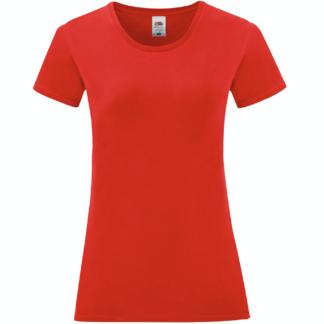 t-shirt maglietta fruit of the loom iconic donna femminile personalizzata ingrosso rivenditori fornitori alterego custom shop rossa