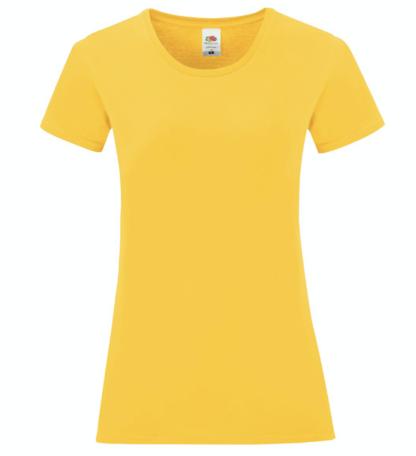 t-shirt maglietta fruit of the loom iconic donna femminile personalizzata ingrosso rivenditori fornitori alterego custom shop gialla