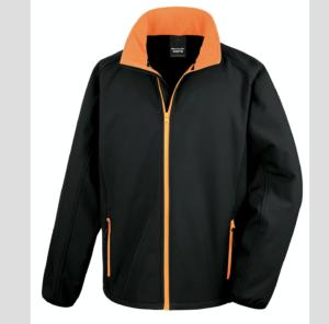 nero arancio arancione nera Giacca giacche giubbini giubbino ricamate ricamo logo stampate stampa personalizzate in softshell a due strati con interno in micropile, antivento e traspirante, zip intera con protezione per il mento, 2 tasche laterali con zip, polsini elasticizzati, offerta promozione