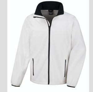 bianco bianca Giacca giacche giubbini giubbino ricamate ricamo logo stampate stampa personalizzate in softshell a due strati con interno in micropile, antivento e traspirante, zip intera con protezione per il mento, 2 tasche laterali con zip, polsini elasticizzati, offerta promozione