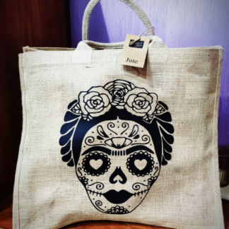 shopper bag shoppersbag juta natural con manici in cotone robusti stampa frida popart artistica novità estate accessori moda donna tendenze estate frida koelo kahlo teschio skull borsa fashion scheletro stampa nera personalizzata particolare