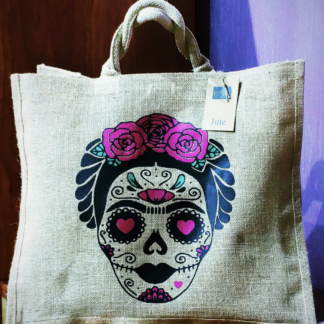 shopper bag shoppersbag juta natural con manici in cotone robusti stampa frida popart artistica novità estate accessori moda donna tendenze estate frida koelo kahlo teschio skull borsa fashion scheletro stampa nera personalizzata particolare colorata