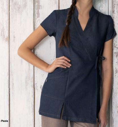 promozioni nuova collezione divisa lavoro personalizzabile con ricamo tessuto jeans antimacchia no stiro confort blu bianco nero grigio fiori fantasia