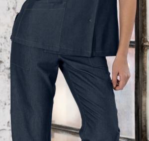 pantalone promozioni nuova collezione divisa lavoro personalizzabile con ricamo tessuto jeans antimacchia no stiro confort blu bianco nero grigio fiori fantasia
