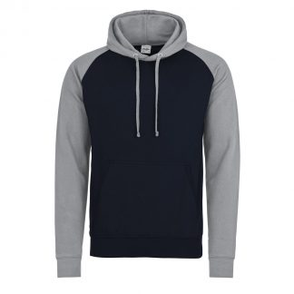 felpa bicolore blu navy grigio cappuccio personalizzabile